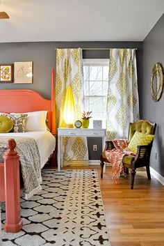 Coral and chartreuse bedroom with soft gray walls