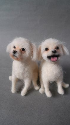 Needle felted Dogs lol it's funny how one is all excited and the other is just like why did you do this to me?