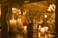 wedding centerpieces candles and flowers