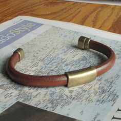 Dude Leather Bracelet for Men Thick Brown w by moonjigjewelry