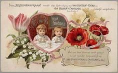 Van Houten's Cacao language of flowers advertising card.