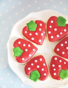 Strawberry Decorated Sugar Cookies by Bird's Party