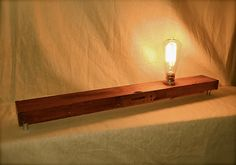 Simple Industrial Style Table Lamp, Exposed Edison Bulb, Repurposed Wood Level