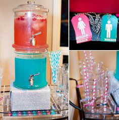 Baby gender reveal party ideas - team blue and team pink, love the juice idea!