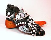 FATHERS DAY perfect:  black and white mosaic, desk accessory -- (Mostly) Black and White Mosaic on Vintage Shoe Form