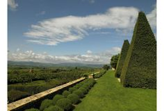 Yew topiary at Château de Bagnols in Beaujolais, France