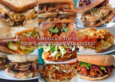 America's Top 10 New Sandwiches Veganized on @Marly Seeley | Namely Marly featuring recipes from great vegan bloggers! #vegan #sandwich