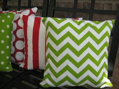 Bright green and white chevron/ Christmas Pillow cover/ 18x18. $20.00, via Etsy.