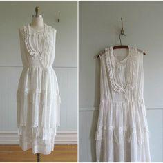 1900s vintage white cotton lace wedding dress.