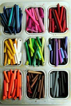 Cake pan crayon storage