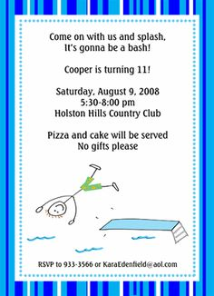 Swimming Party Invite idea parti blue, birthday parti, birthday idea, swim parti