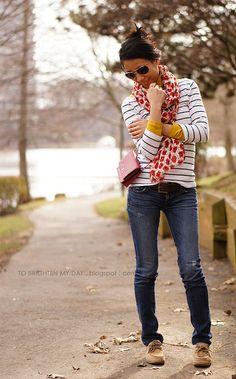 turtleneck + striped shirt + scarf
