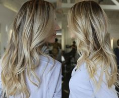 Long, baby blonde, sunkissed subtle highlights.