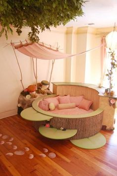 Tree Themed Baby Room Round Tree Bark Toddler Bed Conversion 2627