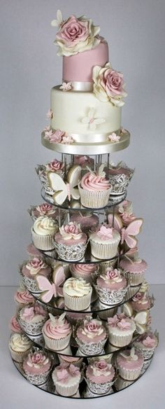 Pink, silver, and gray cupcake tower