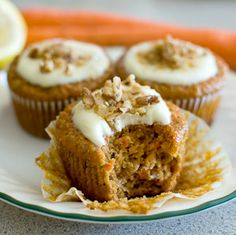 Healthier Carrot Cupcakes with Lemon Cream Cheese Frosting