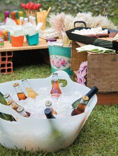 summer picnic, beer, drink, bucket, company picnic, tub, garden parties, bricks, bright colours