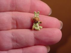 """1/2"""" BUNNY-BEAR ((made to order))-artist Miniature(Thread)Doll house/crocheted collectible-OOAK."""
