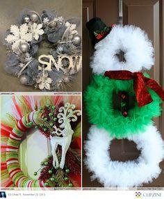 Tulle Christmas Wreath holiday, decor, christma wreath, christmas wreaths, craft, snowman idea, tulle, tull christma, thing