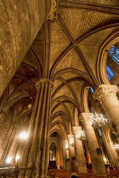 Inside the Notre Dame, a fine example of French Gothic architecture.