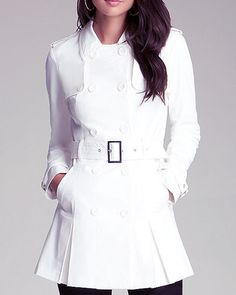 Olivia Pope's Burberry coat may have sold out, but we found 8 white trenches inspired by her look!   BEBE $139; bebe.com.