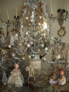Silver Tinsel Tree Display