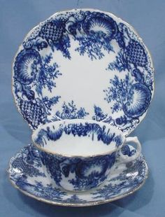 England c1896 Flow Blue fine China trio by Ruby Lane