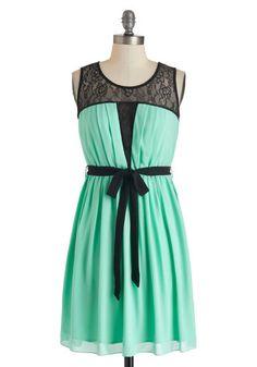 Mint & black lace dress