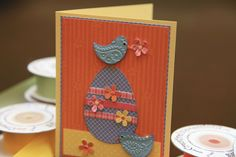 Paper Pieced Card for Easter/Spring ... chicks and an egg ... luv the colors and patterned papers used ...