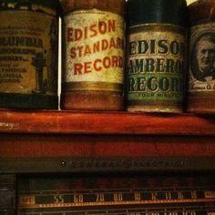 My vintage Edison Records and my vintage Radio ..... Love the old stuff retro antique antiques radio iPhone iPod iPad record
