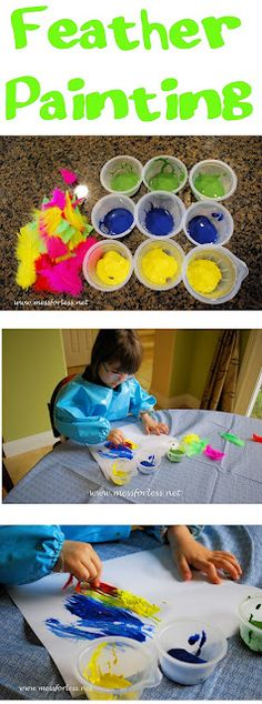 Painting with feathers. Kids will love trying something new. What else can you use for a brush? Pipe cleaners? Tooth brush? Pine cone? Take a walk around outside and look for nature's own paintbrushes!     #children #kids #painting #kidscrafts #play #naturecrafts