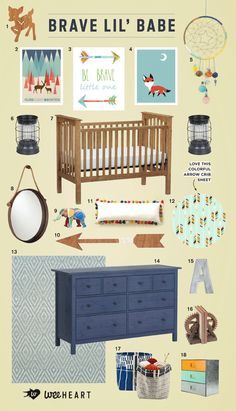 Modern Baby Nursery- arrows and foxes nature