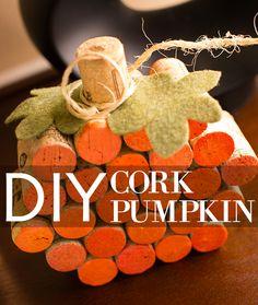 holiday, cork project, wine corks, pumpkin decorations, pumpkins, cork pumpkin, fall decorations, fall theme, wine cork crafts