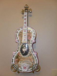 Handmade Mosaic Broken China Violin Repurposed Instrument Decoupaged Shabby Chic
