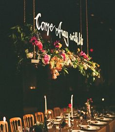 Hanging centerpieces with quotes