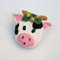 Handmade Cow Face Brooch Jewelry  OOAK Polymer Clay by Fuffalumps