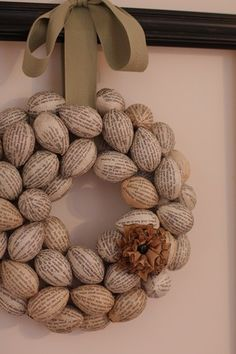 DIY wreath:  Small plastic Easter eggs covered with old book pages.  Tutorial. by betsy