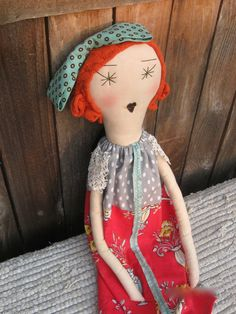Flora: Handmade Rag Doll - Soft Cloth Doll - 22 Inches - Vintage and Recycled Textiles - Red Hair Green Eyes