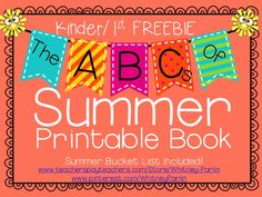"FREEBIE! Students will have a blast creating the ABC's of their summer journey. Students will fill in each letter of the alphabet with a summer activity or ""word of summer."" Creativity will shine and students will want to come back and show you their book in August! Included at the end of this book is a Summer Bucket List! Have a great summer!"