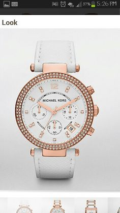 Michael Kors watch in white and rose gold, leather band