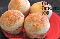 Garlic Parmesan Rolls- only 4 ingredients and they are delicious!