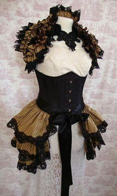 Opulent Victoriana Steampunk TWELFTH NIGHT  Silk  by OpheliasFolly, $99.00. I love the little ruffled shrug on this.