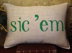 SIC 'EM #Baylor Stenciled Burlap Pillow