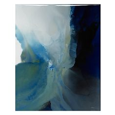 "Artist Bassmi melts a blend of ivory, aqua, grey, blue, and beige hues to create this abstract, ""Awareness."""