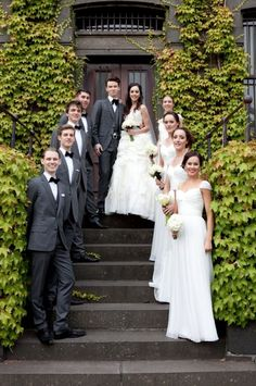 all white bridesmaids and charcoal groom and groomsmen http://www.weddingchicks.com/2014/02/18/its-a-white-wedding-2/