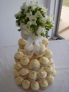 Vanilla wedding cupcake tower.