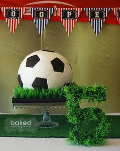 Soccer Ball Cake! Soccer themed birthday party with Lots of Awesome Ideas via Kara's Party Ideas Kara Allen KarasPartyIdeas.com #soccerparty #soccercake #spor...