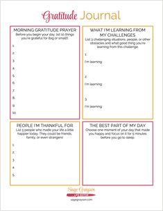 Free Printable Gratitude Journal - Sage Grayson Life Editor