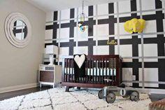 Boy's Nursery with Plaid Accent Wall - #madforplaid #nursery