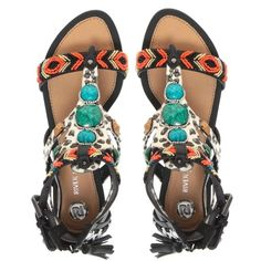River Island Tribal Print Beaded Gladiator Sandals